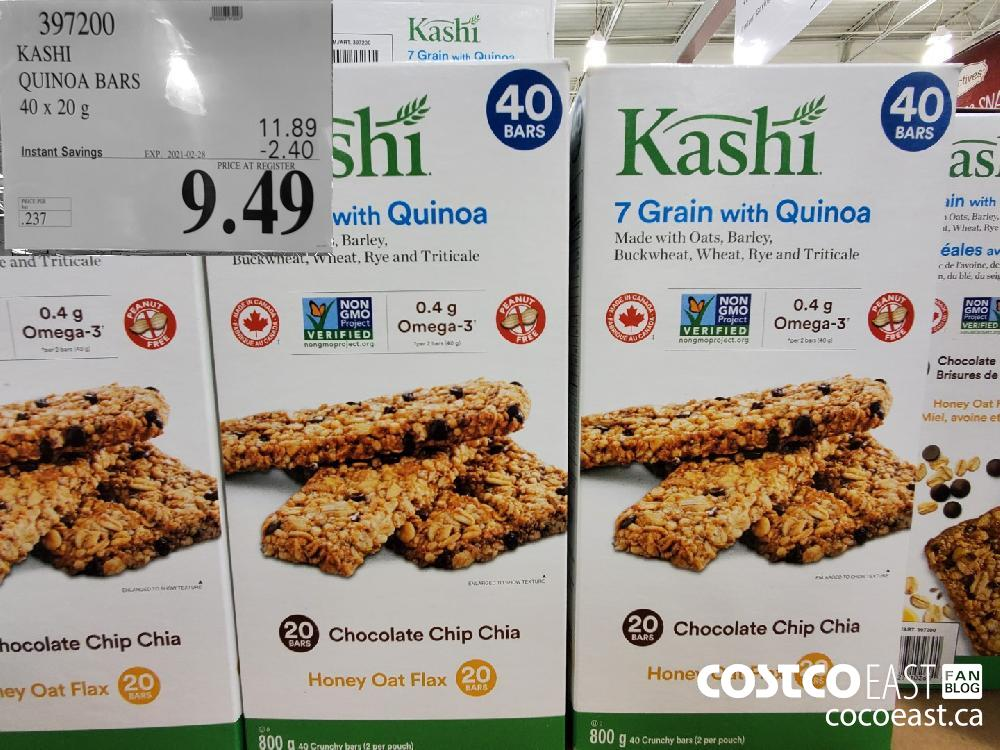 397200 KASHI QUINOA BARS 40 x 20 9 EXPIRY DATE: 2021-02-28 $9 49
