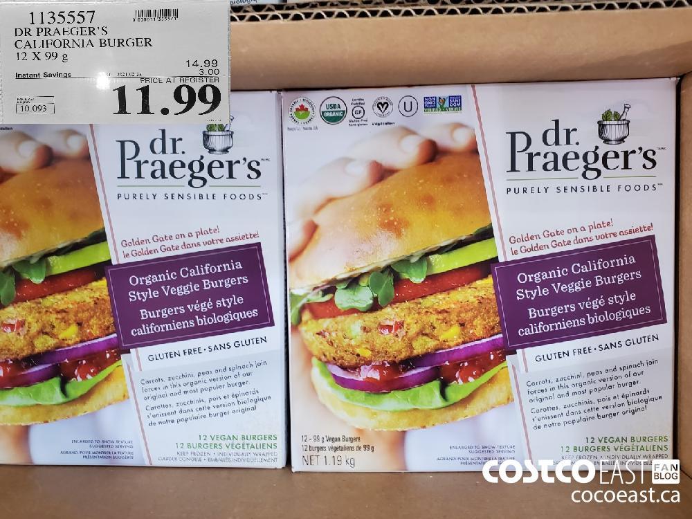 1135557 DR PRAEGER'S CALIFORNIA BURGER 12X99G 14.99 | EXPIRY DATE: 2021-02-28 $11.99