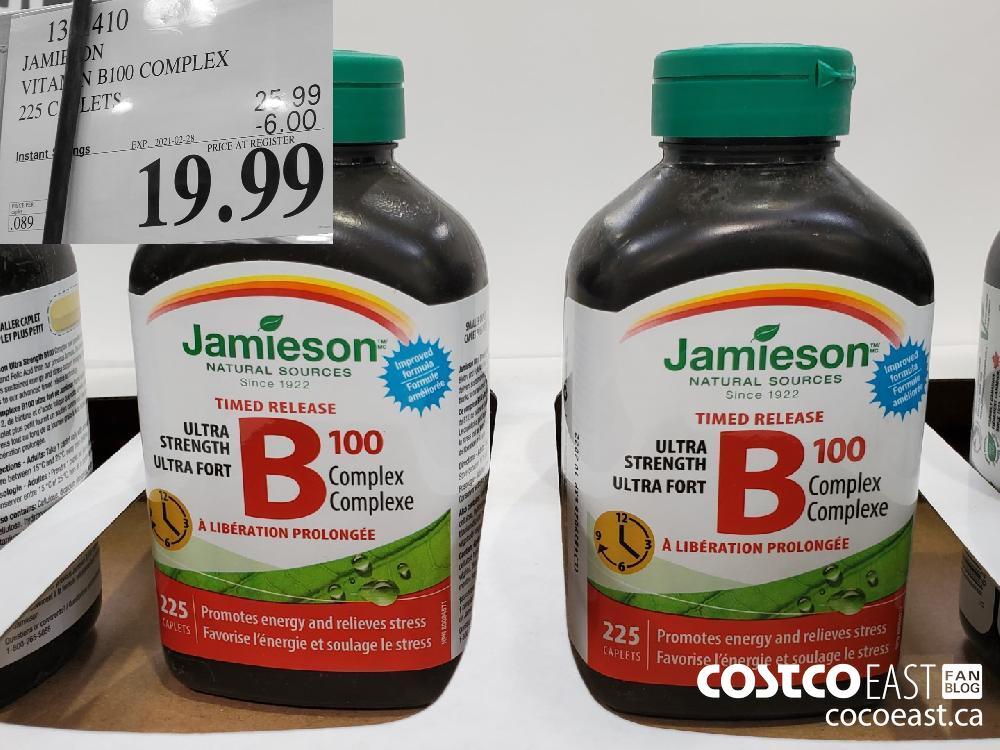 JAMIESON VITAMIN B100 COMPLEX 225 CAPLETS EXPIRY DATE: 2021-02-28 $19.99