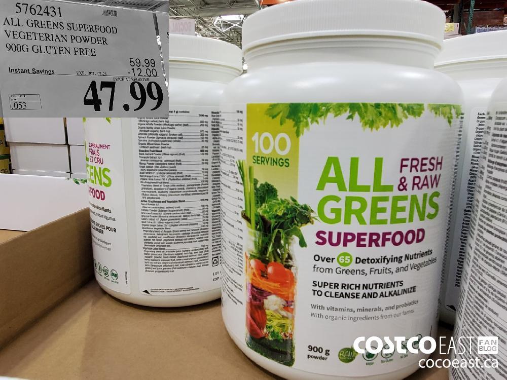 5762431 ALL GREENS SUPERFOOD VEGETARIAN POWDER 900G GLUTEN FREE EXPIRY DATE: 2021-02-28 $47 99