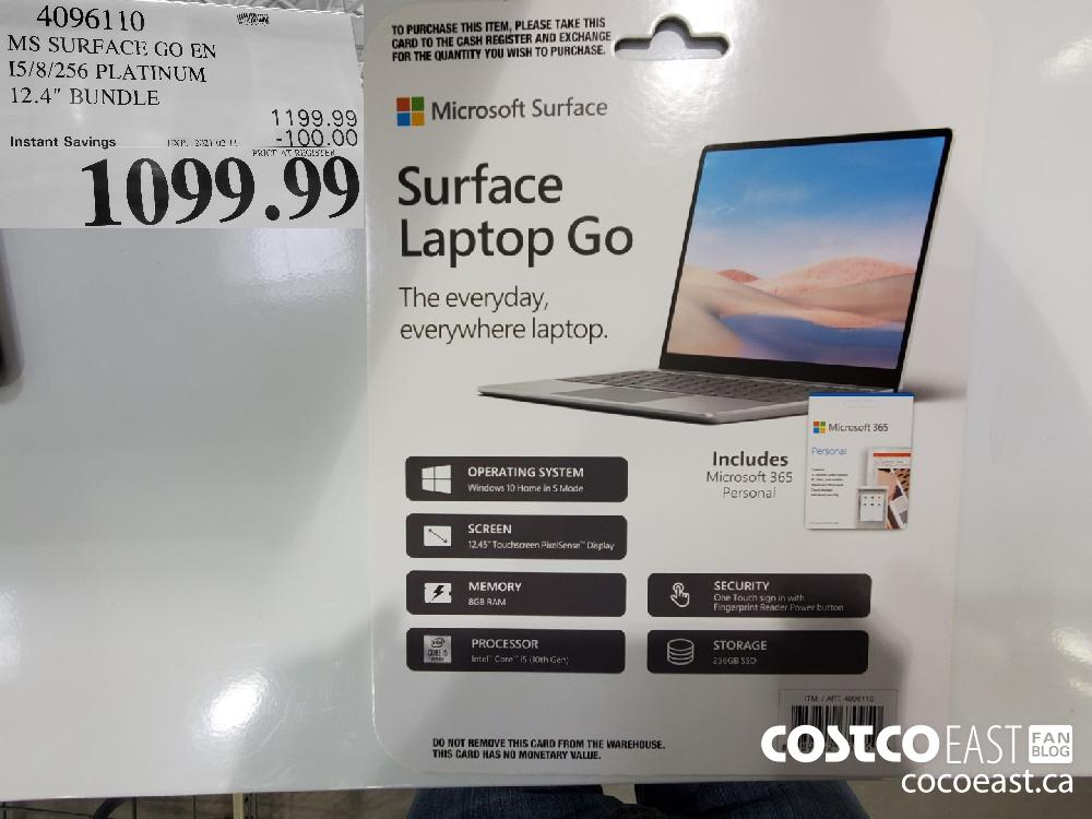 "4096110 MS SURFACE GO EN I5/8/256 PLATINUM 12.4"" BUNDLE EXPIRY DATE: 2021-02-11 $1099.99"