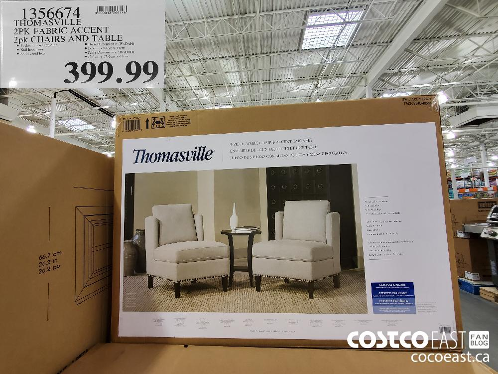 1356674 THOMASVILLE 2PK FABRIC ACCENT 2pk CHAIRS AND TABLE $399.99