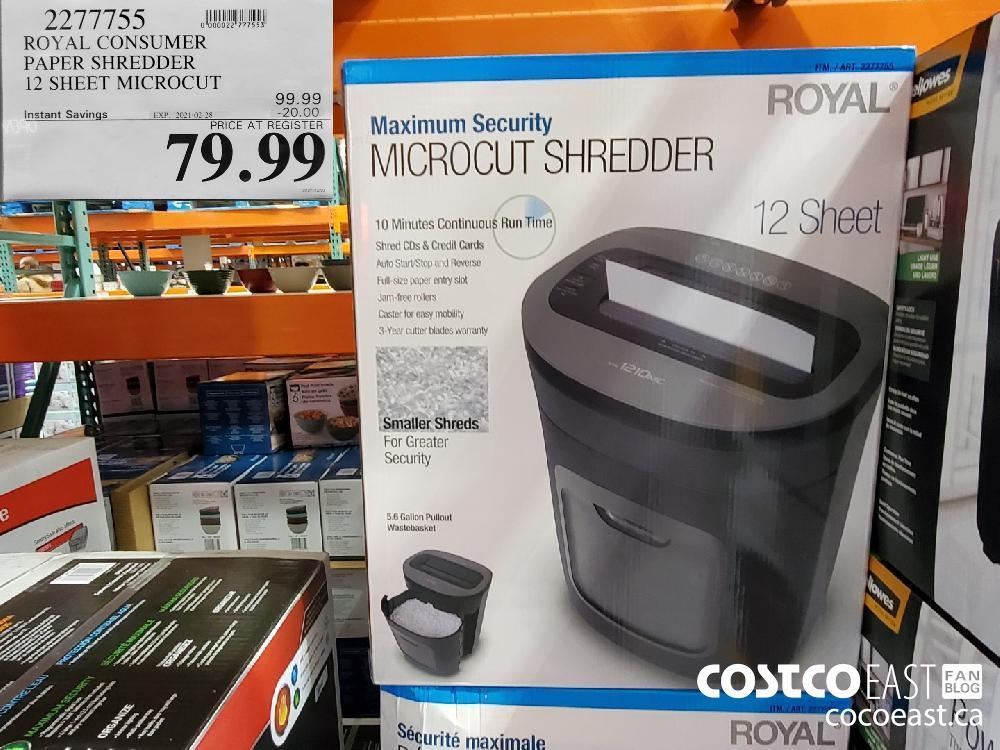 2/1/4195 ROYAL CONSUMER PAPER SHREDDER 12 SHEET MICROCUT EXPIRY DATE: 2021-02-28 $79.99