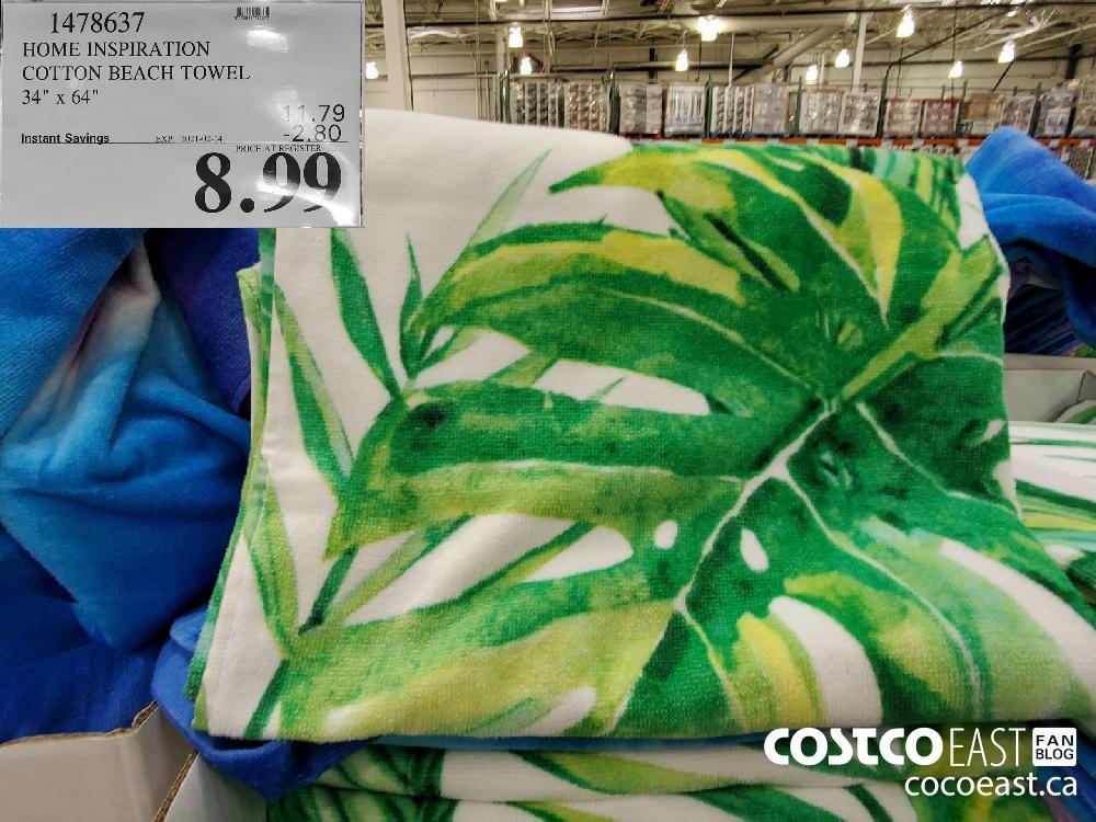 "1478637 HOME INSPIRATION COTTON BEACH TOWEL 34"" x 64"" EXPIRY DATE: 2021-02-14 $8.99"