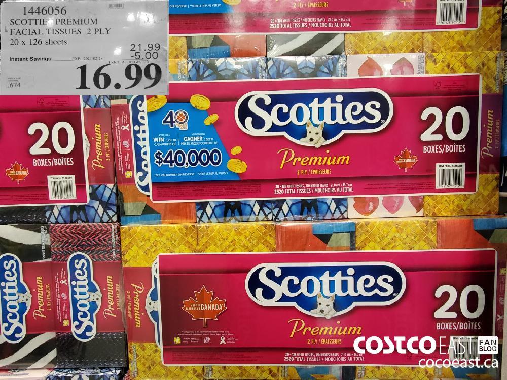 1446056 SCOTTIE PREMIUM FACIAL TISSUES 2 PLY 20 x 126 sheets EXPIRY DATE: 2021-02-28 - $16.99