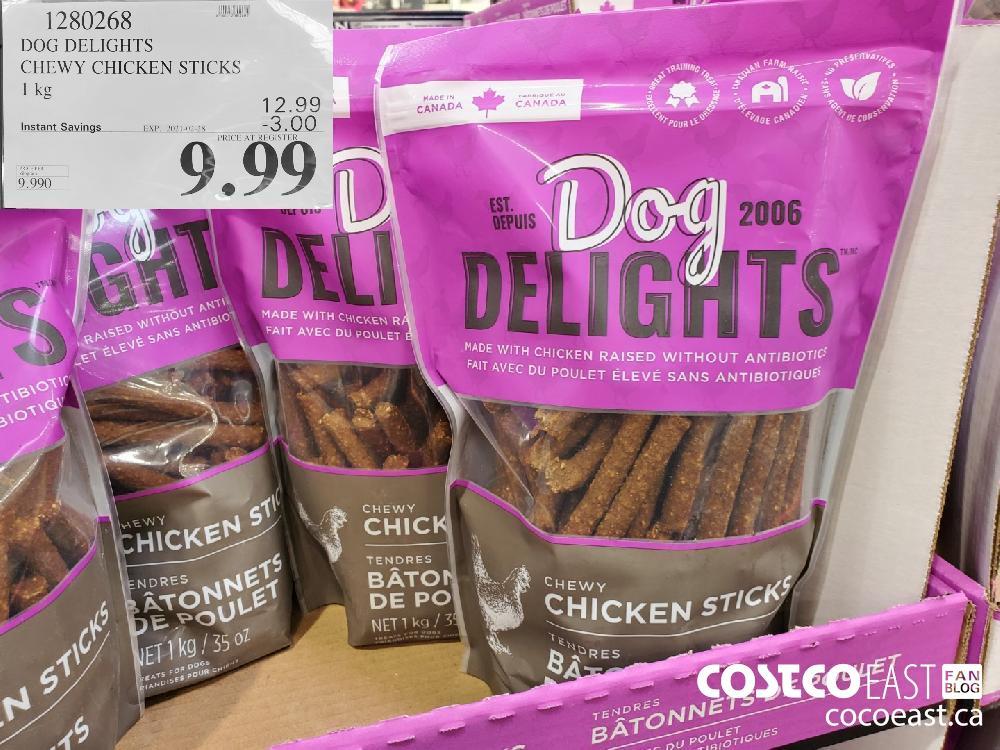 1280268 DOG DELIGHTS CHEWY CHICKEN STICKS 1 kg EXPIRY DATE: 2021-02-28 $9.99