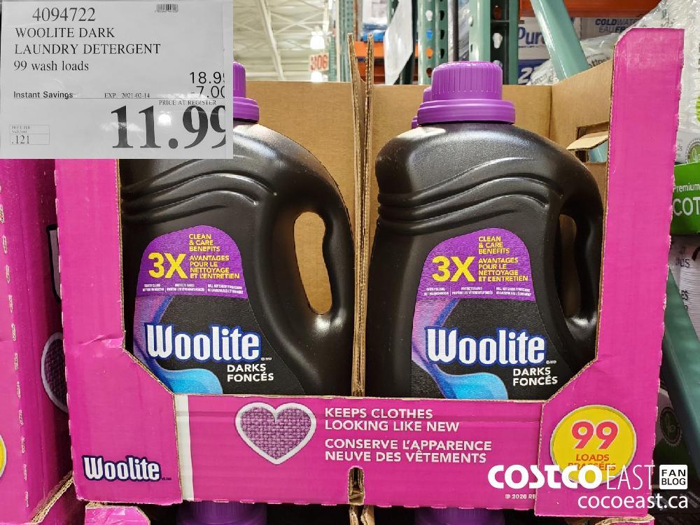 4094722 WOOLITE DARK LAUNDRY DETERGENT 99 wash loads EXPIRY DATE: 2021-02-14 $11.99