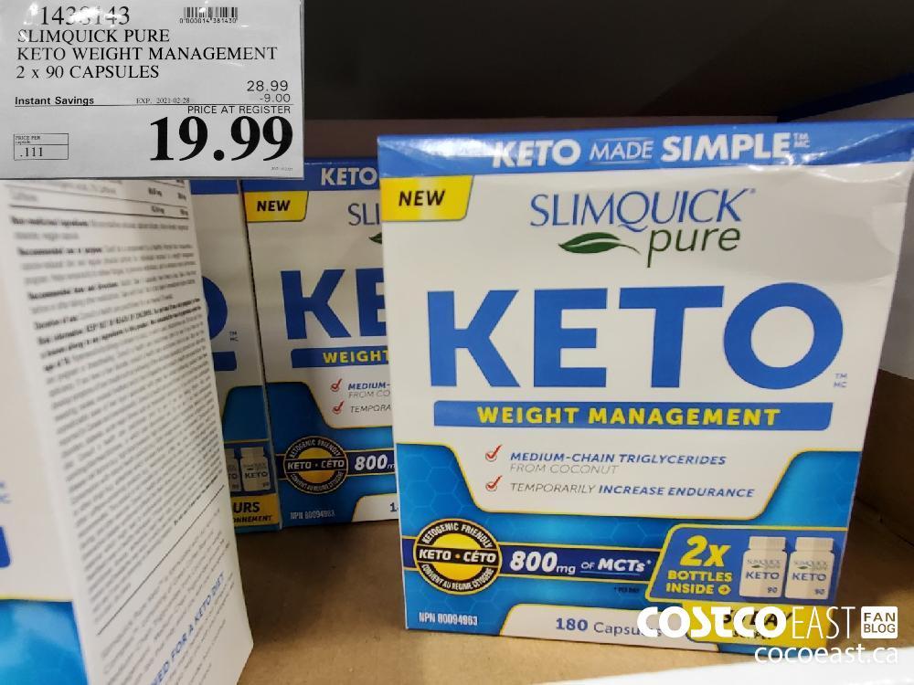 1423143 SLIMQUICK PURE KETO WEIGHT MANAGEMENT 2 x 90 CAPSULES EXPIRY DATE: 2021-02-28 $19.99