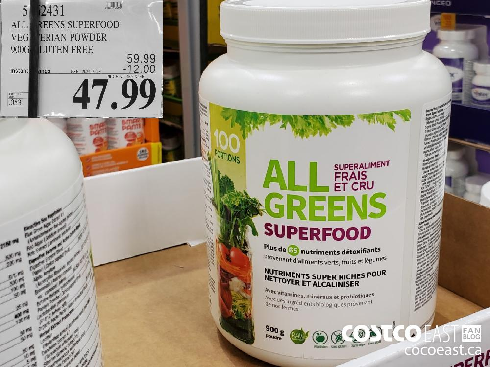 5762431 ALL GREENS SUPERFOOD GLUTEN FREE EXPIRY DATE: 2021-02-28 $47.99