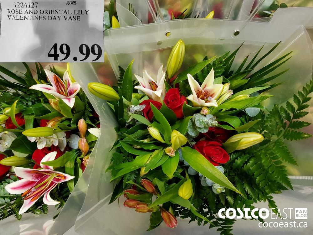 1224127 ROSE AND ORIENTAL LILY VALENTINES DAY VASE $49.99