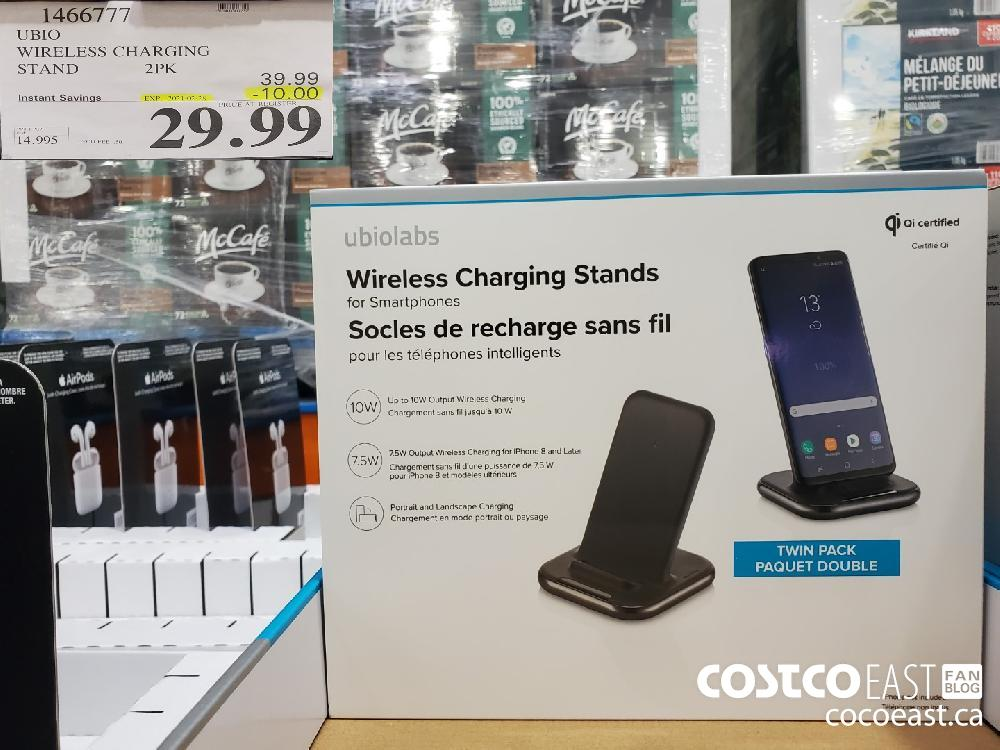 1466777 UBIO WIRELESS CHARGING STAND 2PK EXPIRY DATE: 2021-02-28 $29.99