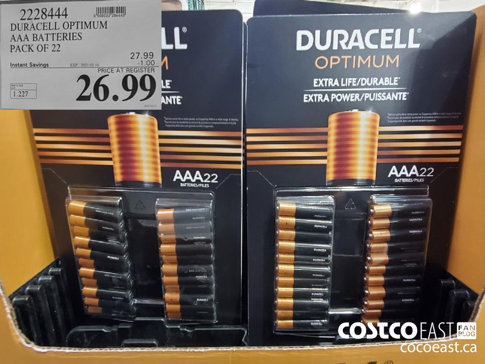 2228444 DURACELL OPTIMUM AAA BATTERIES PACK OF 22 EXPIRY DATE: 2021-02-16 $26.99
