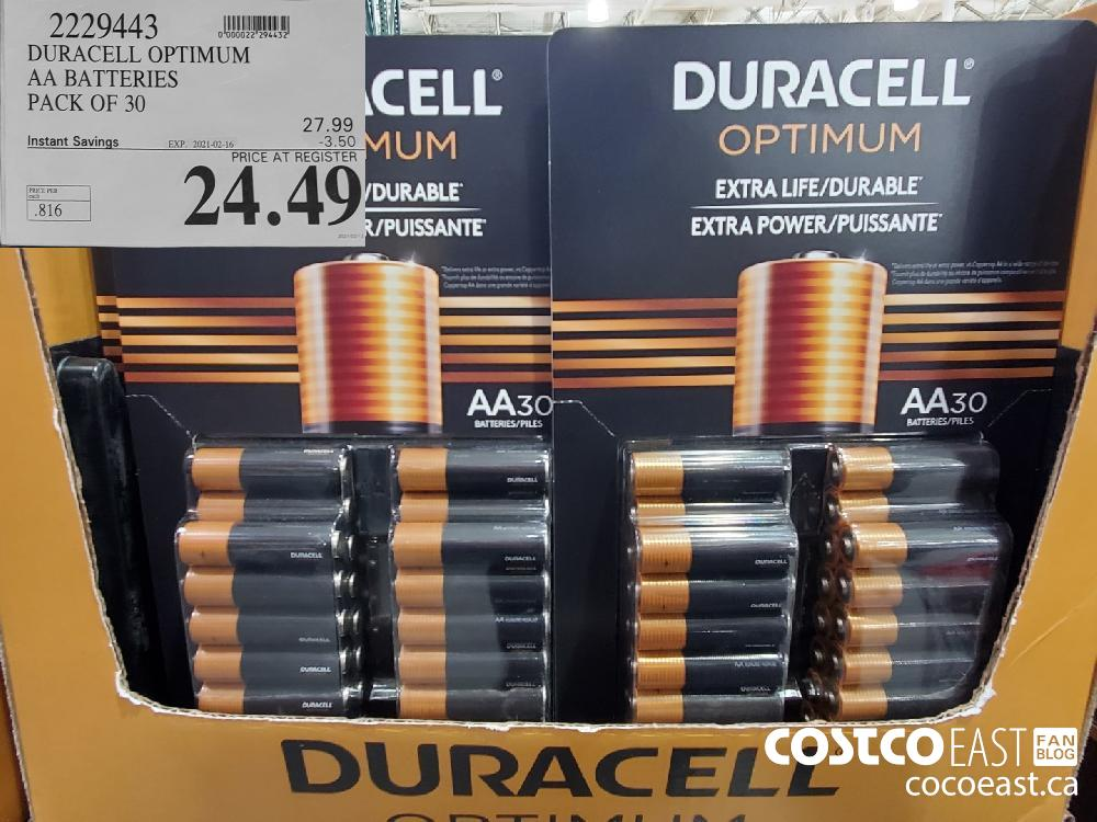 2229443 DURACELL OPTIMUM AA BATTERIES PACK OF 30 EXPIRY DATE: 2021-02-16 $24.49