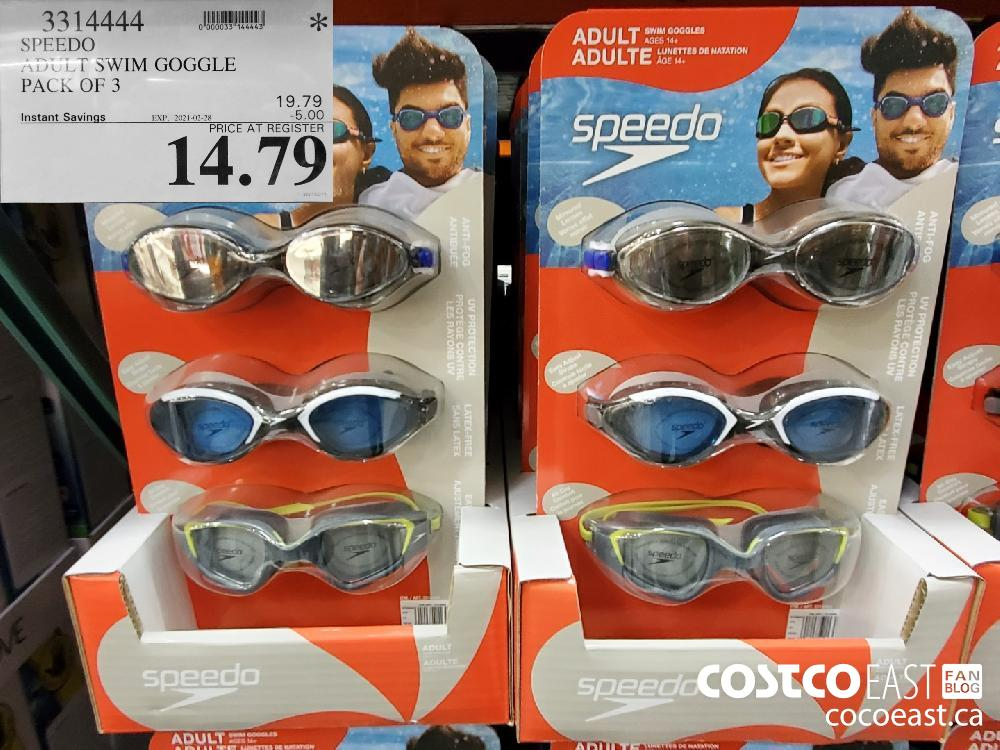 3314444 SPEEDO ADULT SWIM GOGGLE PACK OF 3 EXPIRY DATE: 2021-02-28 $14.79