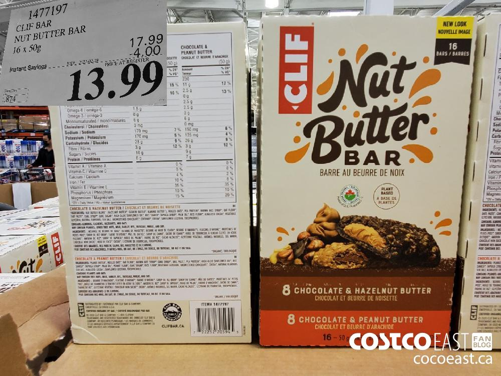 1477197 CLIF BAR NUT BUTTER BAR 16 X 50G $13.99