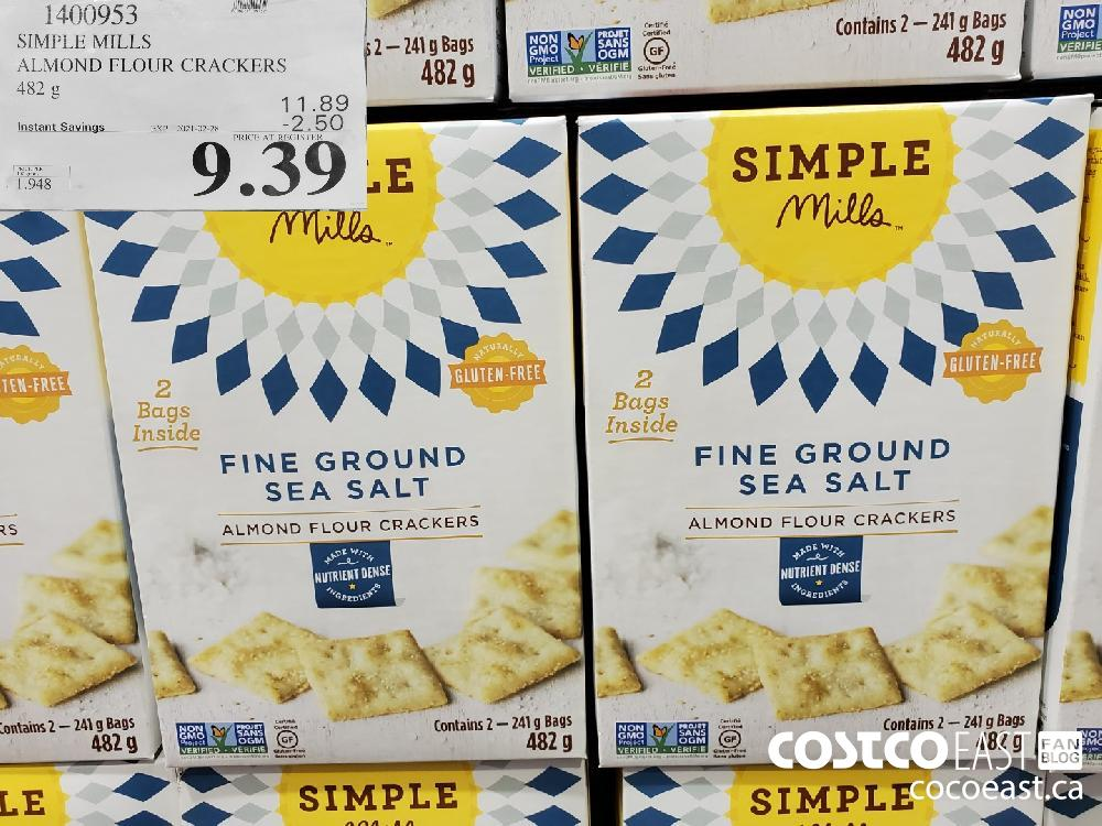 1400953 SIMPLE MILLS ALMOND FLOUR CRACKERS 482 G 11.89 EXPIRY DATE: 2021-02-28 $9.39