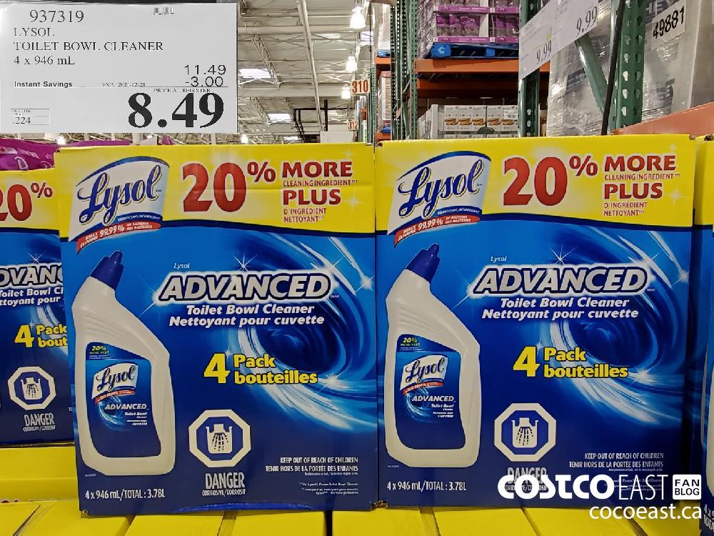 937319 LYSOL TOILET BOWL CLEANER 4 x 946 mL EXPIRY DATE: 2021-02-28 $8.49