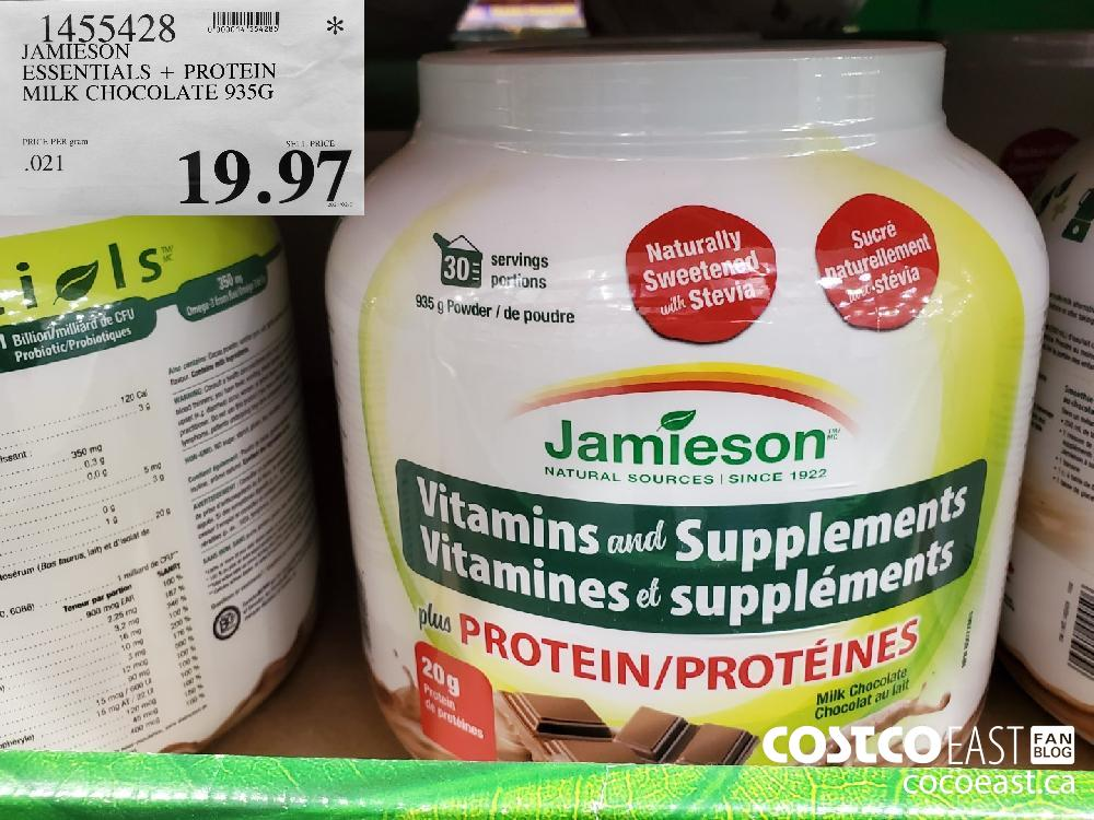 1455428 JAMIESON ESSENTIALS PROTEIN MILK CHOCOLATE 935G $19.97