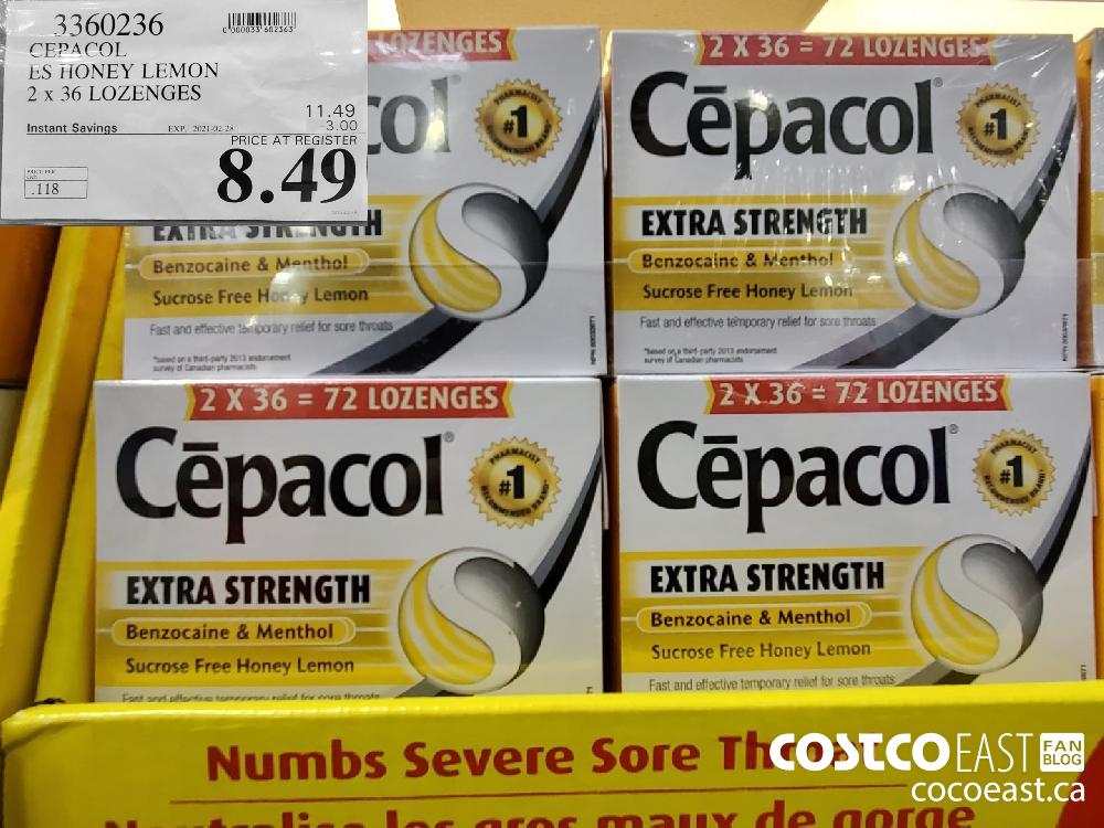 3360236 CEPACOL ES HONEY LEMON 2.x 36 LOZENGES EXPIRY DATE: 2021-02-28 $8.49
