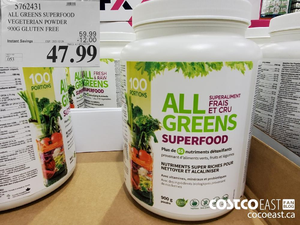 5762431 ALL GREENS SUPERFOOD VEGETERIAN POWDER 900G GLUTEN FREE EXPIRY DATE: 2021-02-28 $47.99