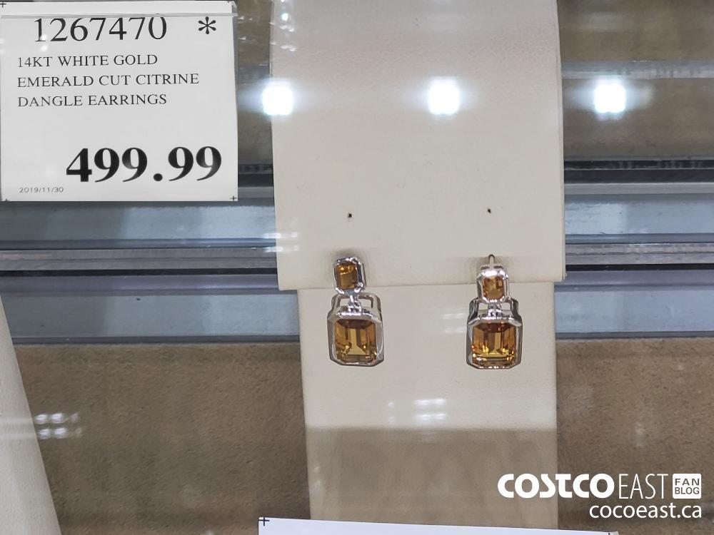 1267470 14KT WHITE GOLD EMERALD CUT CITRINE DANGLE EARRINGS $499.99
