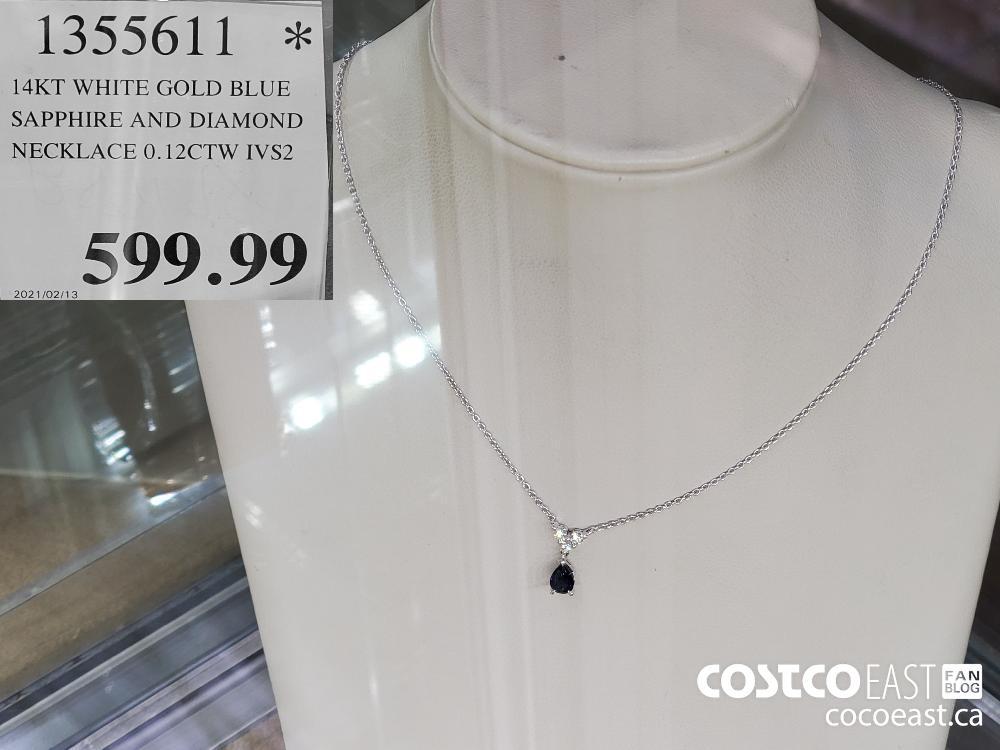 1355611 l4KT WHITE GOLD BLUE SAPPHIRE AND DIAMOND NECKLACE 0.12CTW IVS2 $5399.99