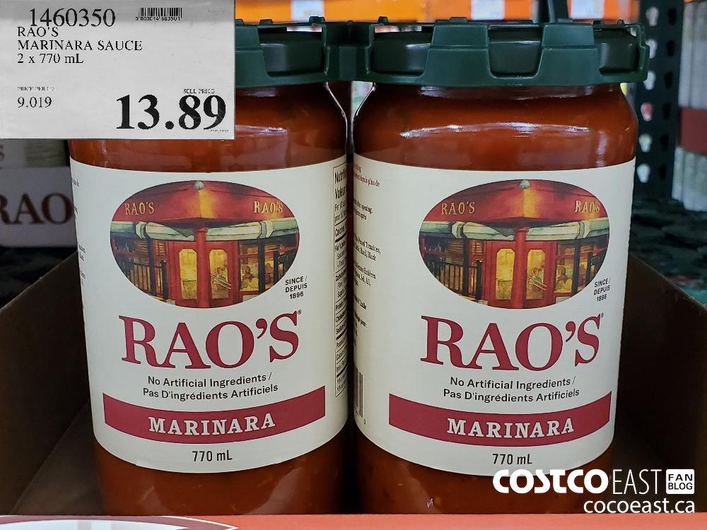 1460350 RAO'S MARINARA SAUCE 2x 770 mL $13.89