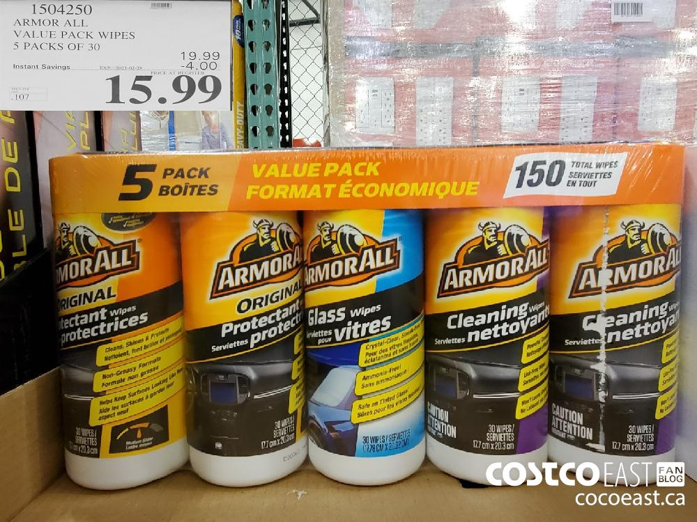 1504250 ARMOR ALL VALUE PACK WIPES > PACKS OF 30 EXPIRY DATE: 20210-02-28 $15.99