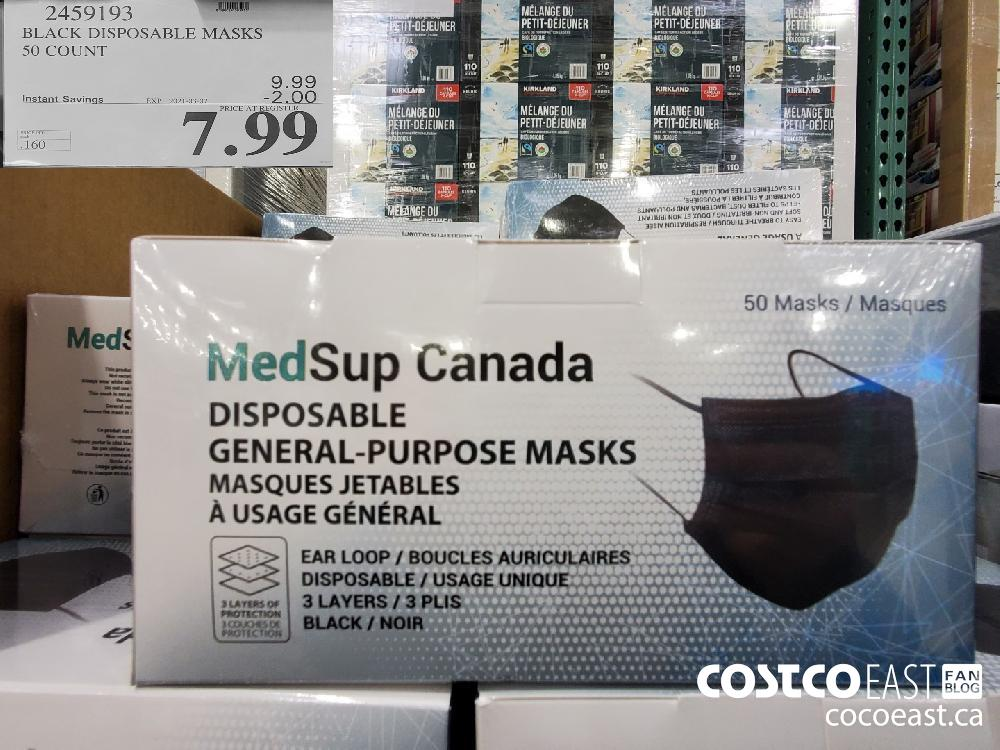 2459193 BLACK DISPOSABLE MASKS 5O COUNT EXPIRY DATE: 2021-03-07 $7.99