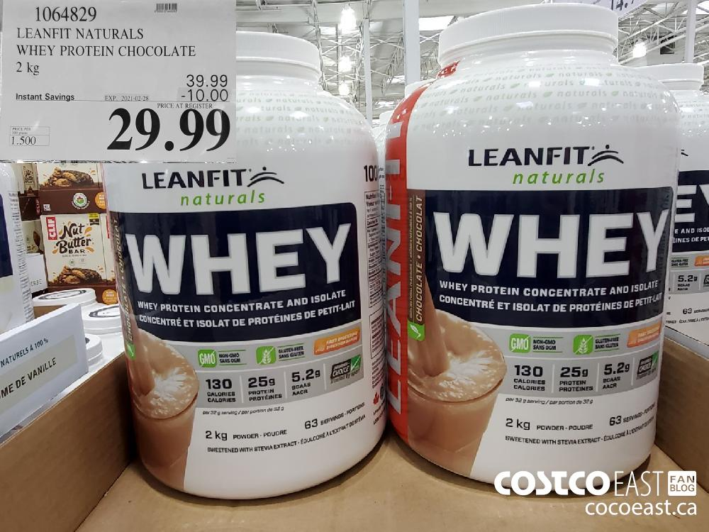 1064829 LEANFIT NATURALS WHEY PROTEIN CHOCOLATE 2 kg EXPIRY DATE: 2021-02-28 $29.99
