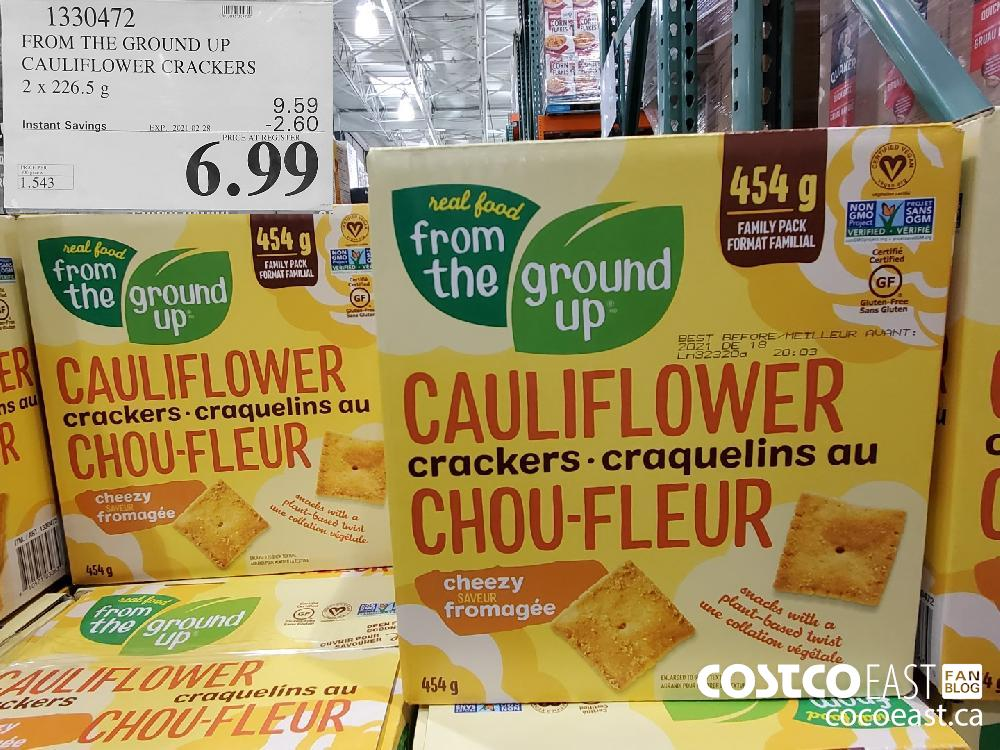 1330472 FROM THE GROUND UP CAULIFLOWER CRACKERS 2x 226.5 G EXPIRY DATE: 2021-02-28 $6.99