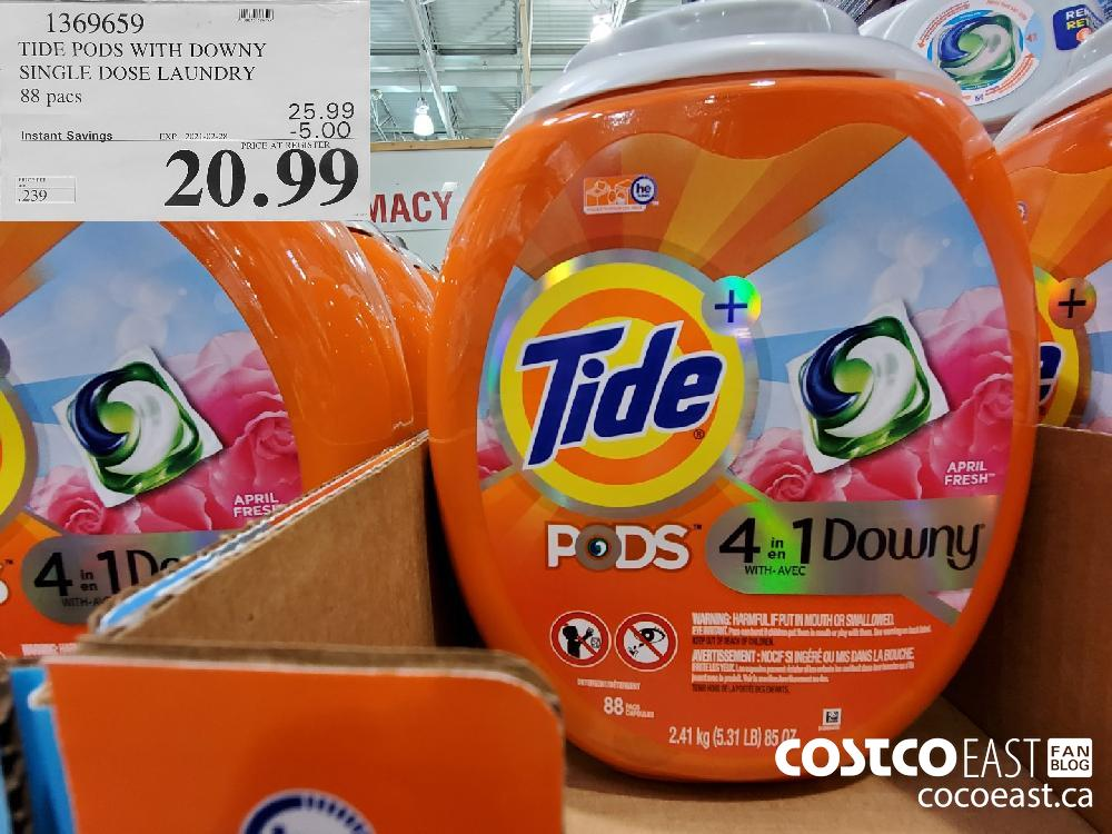 1369659 TIDE PODS WITH DOWNY SINGLE DOSE LAUNDRY 88 pacs EXPIRY DATE: 2021-02-28 $20.99