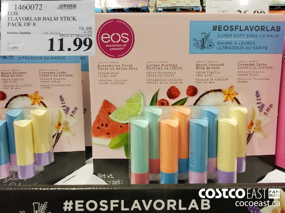 1460072 EOS FLAVORLAB BALM STICK PACK OF 8 EXPIRY DATE: 2021-02-28 $11.99