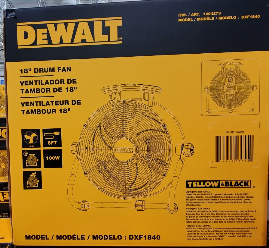 """DeWalt 18"""" drum fan"""