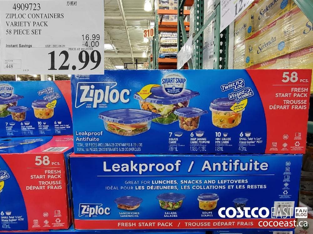 4909723ZIPLOC CONTAINERS VARIETY PACK 58 PIECE SET ($4.00 INSTANT SAVINGS EXPIRES ON 2021-08-29)$12.99