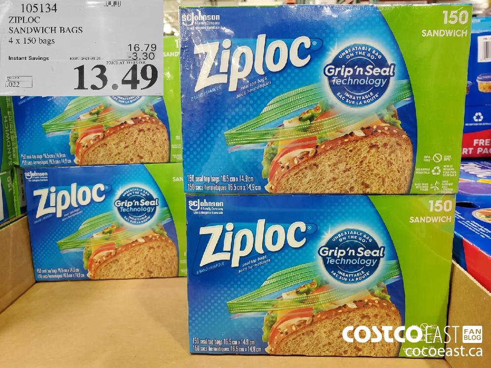 105134ZIPLOC SANDWICH BAGS 4 x 150 bags ($3.30 INSTANT SAVINGS EXPIRES ON 2021-08-29)$13.49